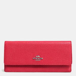 蔻驰(Coach) Soft 钱包 in 横纹真皮 #SILVERTRUE 红色 #SILVER/TRUE RED