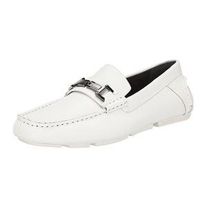 卡尔文·克雷恩 男式白色编织压花无鞋带乐福鞋休闲皮鞋 #White
