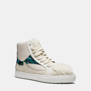 蔻驰(Coach) 女士高帮帆布鞋 #CHALK/CHALK