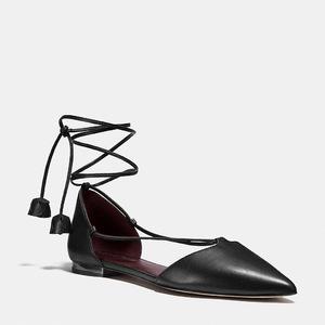 蔻驰(Coach) 女士真皮平底鞋 #BLACK