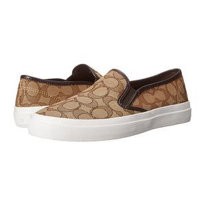 蔻驰(Coach) 人气款!LOGO款一脚蹬平底鞋休闲帆布鞋 #Khaki/Chestnut Signature C/Nappa