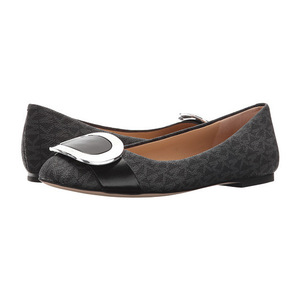 MICHAEL Michael Kors 女士平底鞋 #Black Mini MK Logo PVC/Nappa