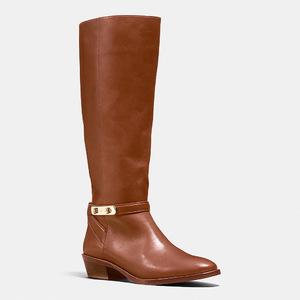 蔻驰(Coach) 女士真皮中筒靴 #DARK SADDLE
