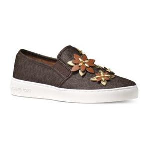 迈克高仕(Michael Kors) MICHAEL  Heidi MK Logo 一脚蹬板鞋 #棕色 #Brown