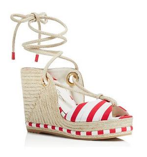 菲拉格慕 Evita Espadrille Platform Wedge 凉鞋 #鲜红 #Bright Red