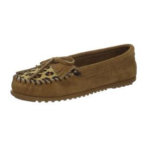 迷你唐卡(Minnetonka) 女士豹纹 Kilty豆豆鞋褐色,5 M US-褐色 #Taupe