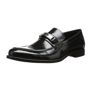 卡尔文·克雷恩(Calvin Klein) 男式黑色光滑无鞋带乐福鞋皮鞋 #Black