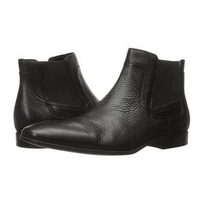 卡尔文·克雷恩 男士靴子 #Black Tumbled Cow Leather