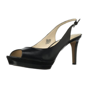 玖熙(NINE WEST) 黑色鱼嘴高跟鞋 #Black/Black Leather