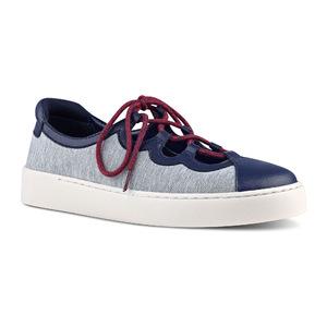 玖熙 女士板鞋 #Grey/ Navy Fabric