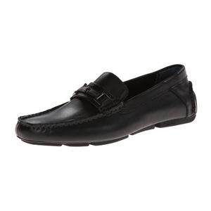 卡尔文·克雷恩 Magnus 男式黑色无鞋带乐福鞋皮鞋 #Black