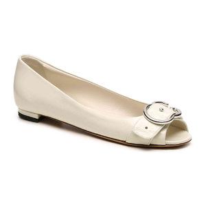 古驰 Final Sale  Patent 真皮 Interlocking G 平底鞋 #象牙白 #Ivory