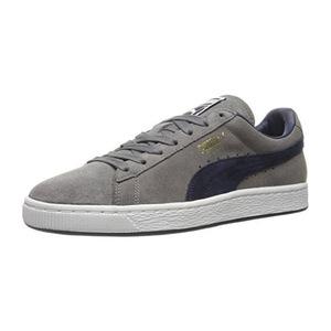 彪马(PUMA) Mens 麂皮经典 + Fashion 运动鞋 #蓝灰色 Graypeacoatpeacoat #Steel Gray-peacoat-peacoat