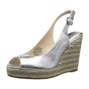 玖熙(NINE WEST) Women's Forevryung Synthetic Wedge Sandal #Silver