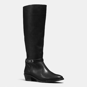 蔻驰(Coach) 女士真皮中筒靴 #BLACK